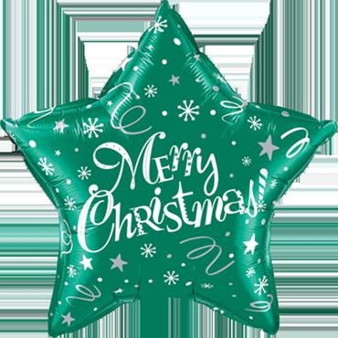 Merry Christmas! Festive Green Foil Star 20in/50cm
