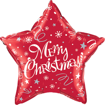 Merry Christmas! Festive Red Foil Star 20in/50cm