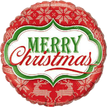 Merry Christmas Nordic Pattern Foil Round 18in/45cm