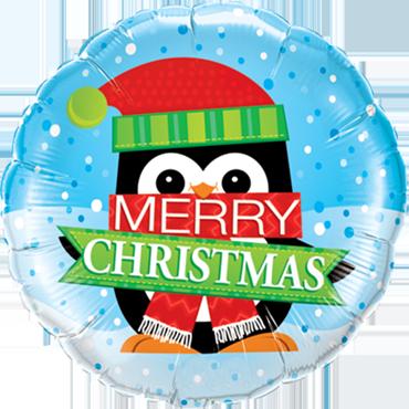 Merry Christmas Penguin Foil Round 18in/45cm