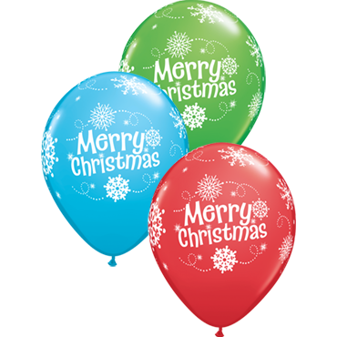 Merry Christmas Snowflakes Standard Red, Fashion Robins Egg Blue and Fashion Spring Green Assortment Latex Round 11in/27.5cm