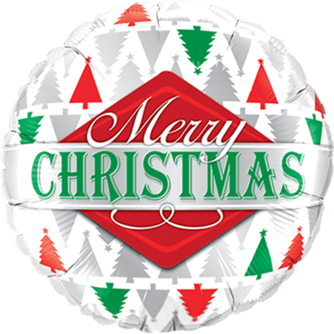 Merry Christmas Tree Patterns Foil Round 18in/45cm