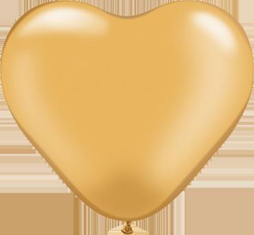 Metallic Gold Latex Heart 6in/15cm