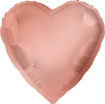 Metallic Rose Gold Foil Heart 17in/43cm