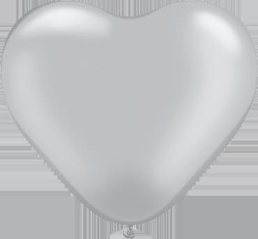 Metallic Silver Latex Heart 6in/15cm