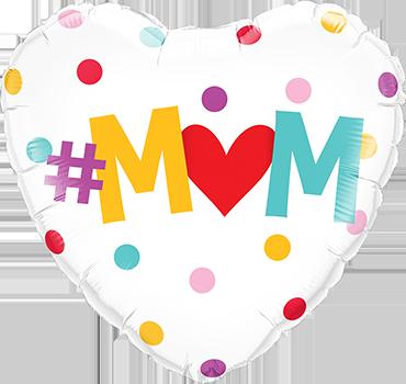 #M(Heart)M Dots Foil Heart 18in/45cm