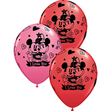 Mickey & Minnie I Love You Standard Red and Fashion Rose Assortment Latex Round 11in/27.5cm