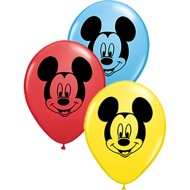Mickey Mouse Face Standard Red, Standard Yellow and Standard Pale Blue Assortment Latex Round 5in/12.5cm