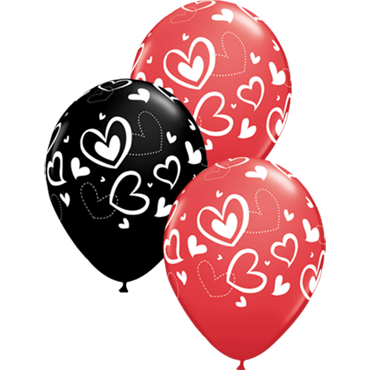 Mix and Match Hearts Standard Red and Fashion Onyx Black Assortment Latex Round 11in/27.5cm