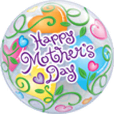 Mother's Day Curly Hearts Single Bubble 22in/55cm