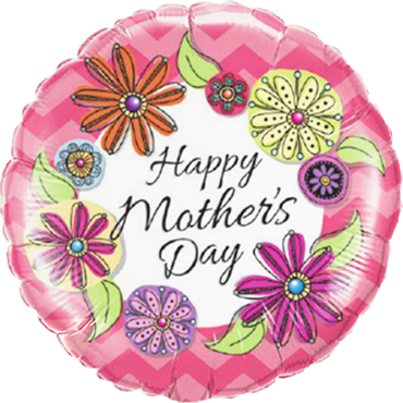 Mother's Day Floral Chevron Foil Round 18in/45cm