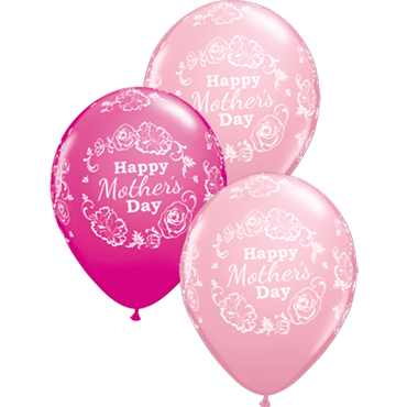 Mothers Day Floral Damask Standard Pink and Fashion Wild Berry Assortment Latex Round 11in/27.5cm