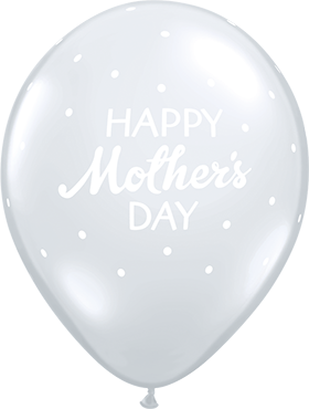 Mother's Day Petite Polka Dots Crystal Diamond Clear (Transparent) Latex Round 11in/27.5cm