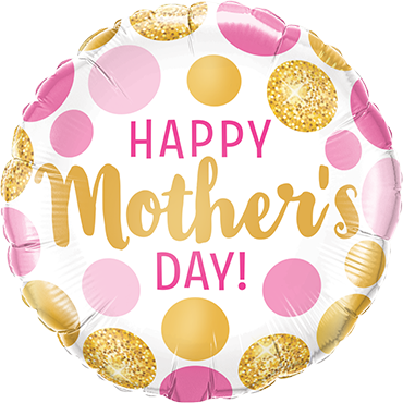 Mothers Day Pink and Gold Dots Foil Round 18in/45cm