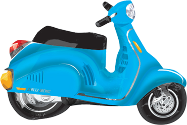 Motor Scooter - Blue Vendor Foil Shape 24in/60cm x 24in/60cm