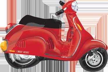 Motor Scooter - Red Vendor Foil Shape 24in/60cm x 24in/60cm