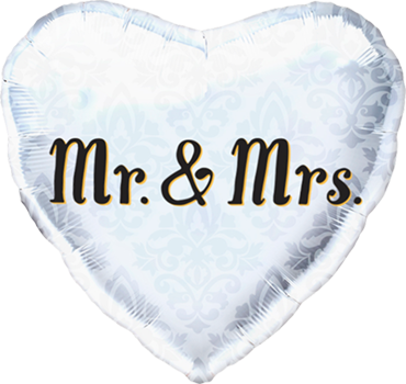 Mr & Mrs Foil Heart 18in/45cm