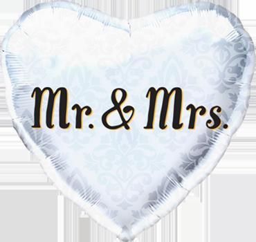Mr & Mrs Foil Heart 18in/45cm