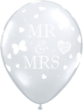 Mr and Mrs Crystal Diamond Clear (Transparent) Latex Round 11in/27.5cm