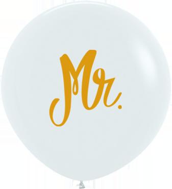 Mr Fashion White w/Gold Ink Latex Round 24in/60cm
