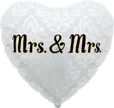 Mrs. & Mrs. Foil Heart 18in/45cm