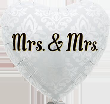 Mrs. & Mrs. Foil Heart 18in/45cm