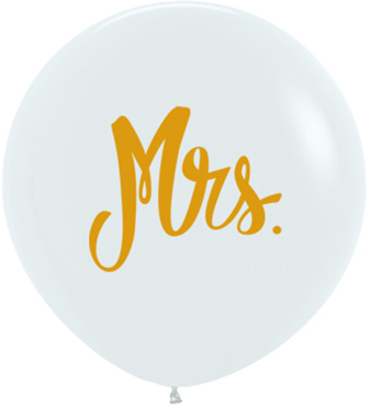 Mrs Fashion White w/Gold Ink Latex Round 24in/60cm