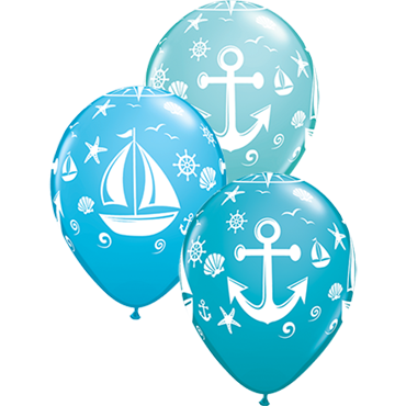 Nautical Sailboat and Anchor Fashion Caribbean Blue, Fashion Robins Egg Blue and Fashion Tropical Teal Assortment Latex Round 11in/27.5cm