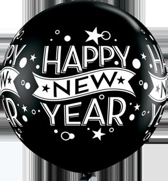 New Year Confetti Dots Fashion Onyx Black Clear Latex Round 36in/90cm