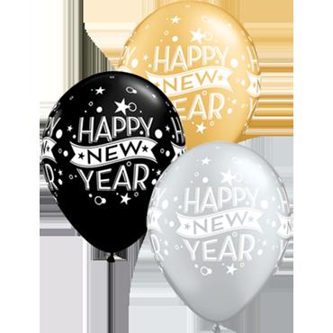 New Year Confetti Dots Fashion Onyx Black, Metallic Silver and Metallic Gold Assortment Latex Round 11in/27.5cm