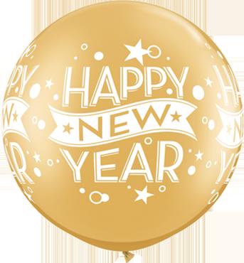 New Year Confetti Dots Metallic Gold Latex Round 30in/75cm