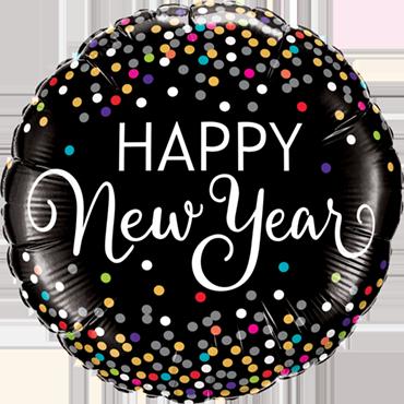 New Year Confetti Foil Round 18in/45cm