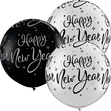 New Year Sparkle Fashion Onyx Black and Metallic Silver Assortment Latex Round 30in/75cm
