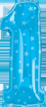 Number One Blue Stars Foil Shape 38in/97cm