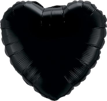 Onyx Black Foil Heart 18in/45cm