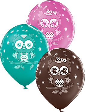 Owls Pastel Forest Green, Pastel Rose and Pastel Cocoa Brown Assortment Latex Round 12in/30cm