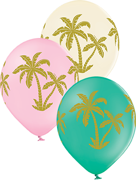 Palm Tree Pastel Pink, Pastel Vanilla and Pastel Forest Green Assortment Latex Round 12in/30cm