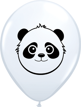 Panda Bear Face Standard White Latex Round 5in/12.5cm