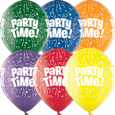 Party Time Crystal Green, Crystal Yellow, Crystal Orange, Crystal Royal Red, Crystal Quartz Purple and Crystal Blue Assortment (Transparent) Latex Round 12in/30cm