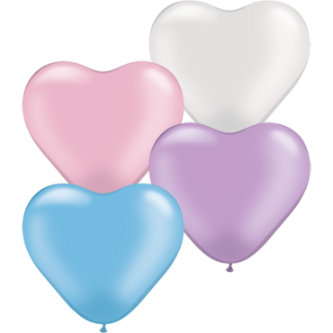 Pastel Pearl Assortment Latex Heart 6in/15cm