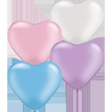 Pastel Pearl Assortment Latex Heart 6in/15cm