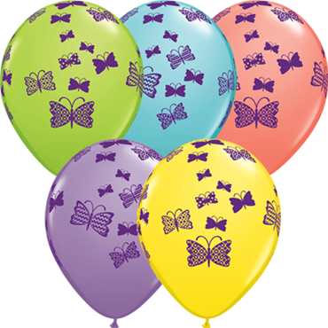 Patterned Butterflies Rising Sorbet Assortment Latex Round 11in/27.5cm