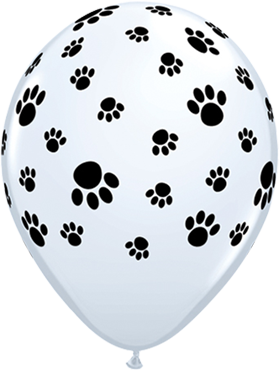 Paw Prints Standard White Latex Round 11in/27.5cm