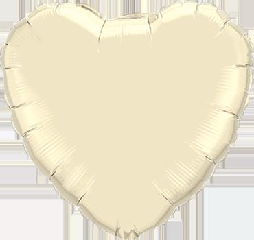 Pearl Ivory Foil Heart 36in/90cm