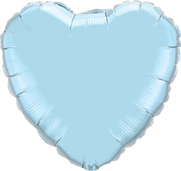 Pearl Light Blue Foil Heart 4in/10cm