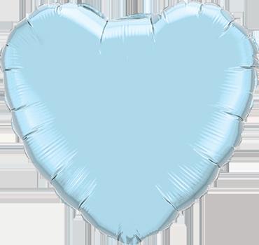 Pearl Light Blue Foil Heart 9in/22.5cm