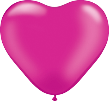 Pearl Magenta Latex Heart 6in/15cm