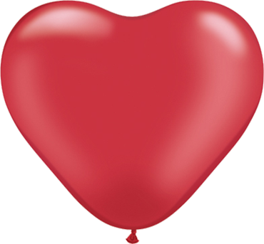 Pearl Ruby Red Latex Heart 6in/15cm