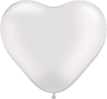 Pearl White Latex Heart 6in/15cm