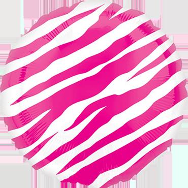 Pink Zebra Foil Round 18in/45cm